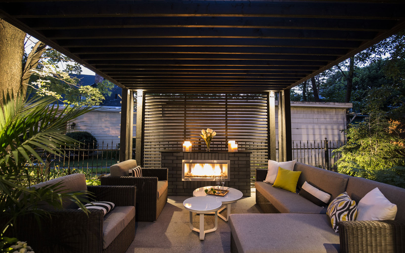 Outdoor living room for a resort-style backyard