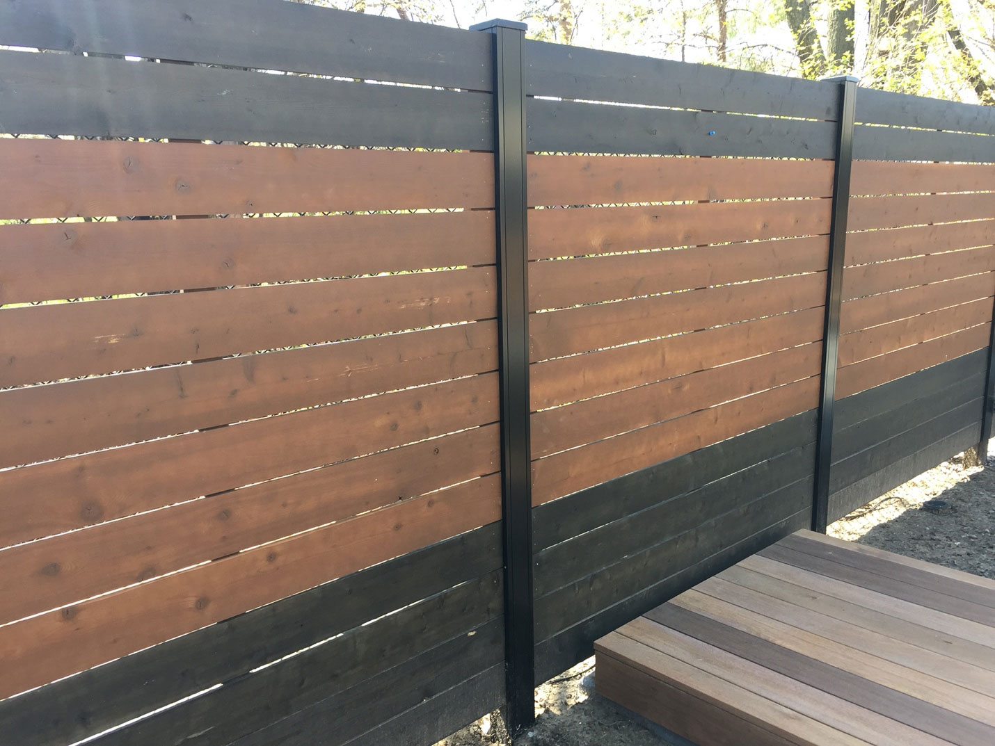 Step 9 for the spa landscaping: custom-designed fence for privacy