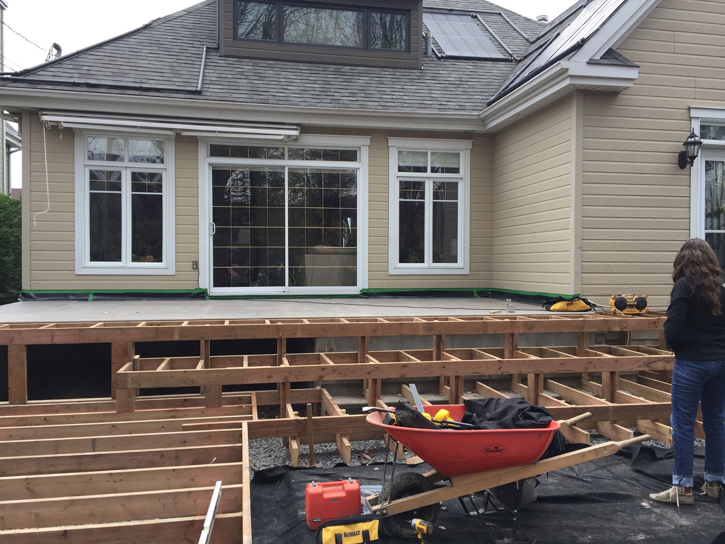 Step 3 for the spa deck: fixing the deck base