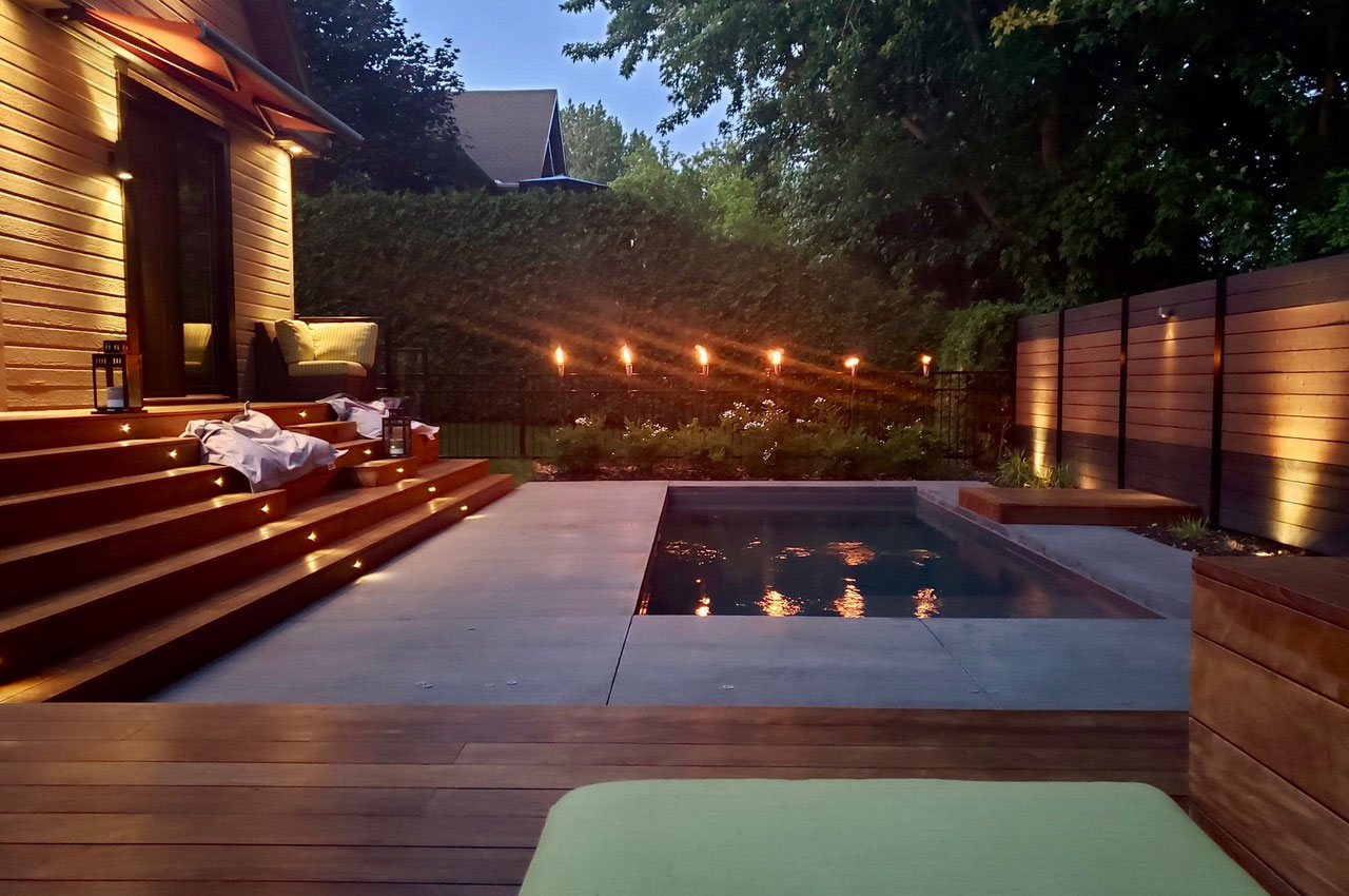Step 5 for the spa deck stairs: adding a lighting system