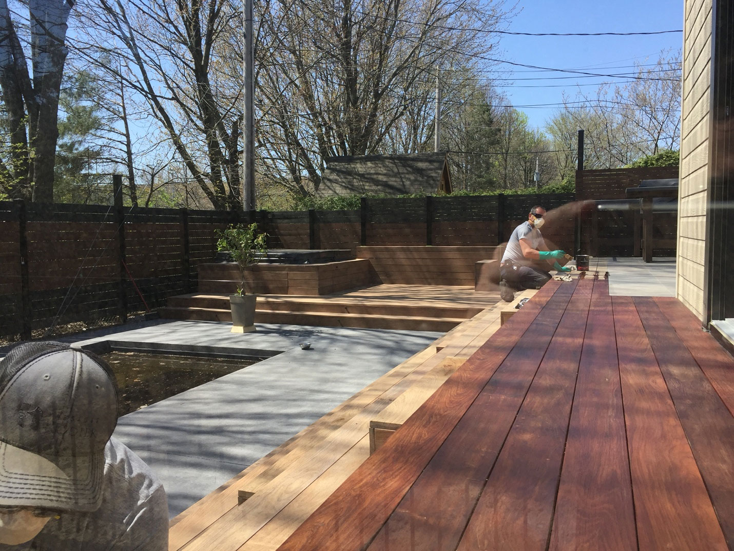 Step 6 for the spa deck: treat Brazilian wood with oil